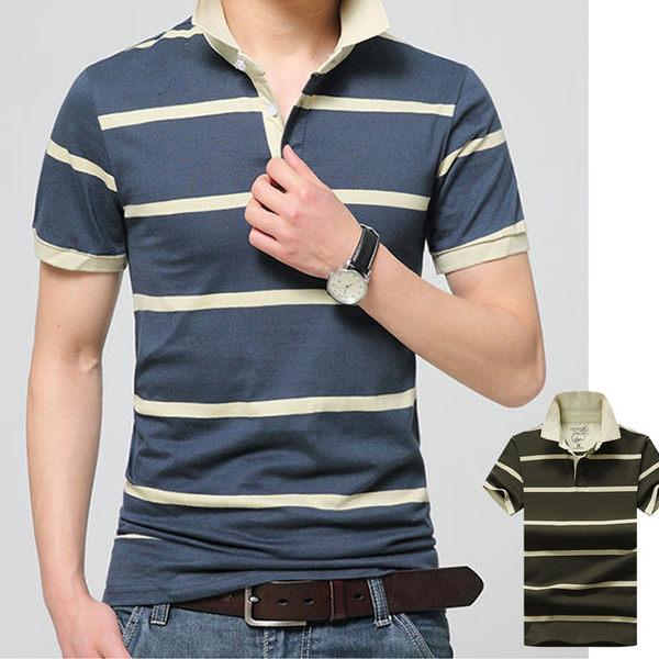 Mao  最新款經典商務休閒條紋翻領短袖POLO衫