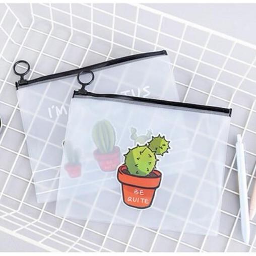 【BlueCat】多肉仙人掌橘色盆栽透明砂收納袋 筆袋