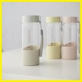 韓版清新文藝玻璃杯創意潮流水杯簡約男女學生韓國便攜帶提繩水瓶