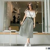 《DA8646-》高含棉假兩件拼色露肩抽繩收腰洋裝 OB嚴選