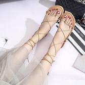 特賣平底涼鞋夏季羅馬平底鞋女交叉綁帶鞋平跟繫帶平底學生時尚百搭涼鞋女