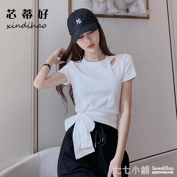 網紅短袖t恤女2021新款夏裝修身打結設計感小眾心機上衣短款露臍