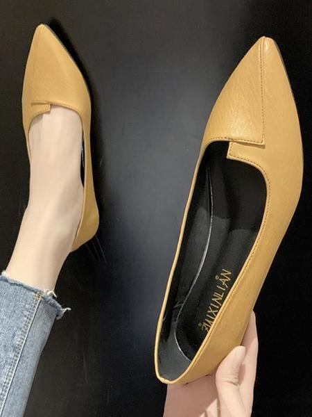 熱賣平底鞋 單鞋女平底2021新款復古百搭軟底四季鞋尖頭淺口舒適職業工作鞋子 快速出貨