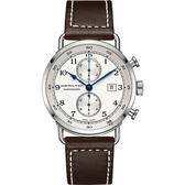Hamilton漢米爾頓 卡其海軍計時機械錶-銀x咖啡/44mm H77706553