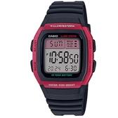 【CASIO】 輕運動時代電子錶-桃紅框(W-96H-4A)