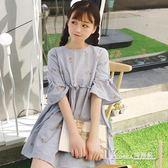 小清新棉麻連身裙韓版寬鬆高腰短袖娃娃裙 【米蘭街頭】