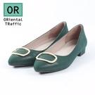 簡約金屬方釦平底鞋