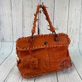 BRAND楓月 Bottega Veneta BV 277082 暗橘色 蜥蜴皮 流蘇裝飾 手提包 掀蓋 毛邊 個性造型