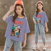 女童短袖T恤兒童2020夏裝新款韓版洋氣寬鬆純棉上衣中大童條紋女