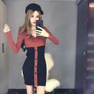 VK精品服飾 韓系性感單排釦包臀交叉V領拼色長袖洋裝