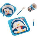 兒童餐盤 分格盤卡通防摔竹纖維無毒兒童碗餐具套裝可愛嬰幼兒家用【快速出貨八折優惠】