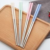 家用環保小麥餐具304不銹鋼筷創意炫彩家庭筷子4雙裝