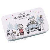 〔小禮堂〕史努比 造型貼紙附鐵盒《綠白.大臉》裝飾貼.黏貼用品 4991277-07464
