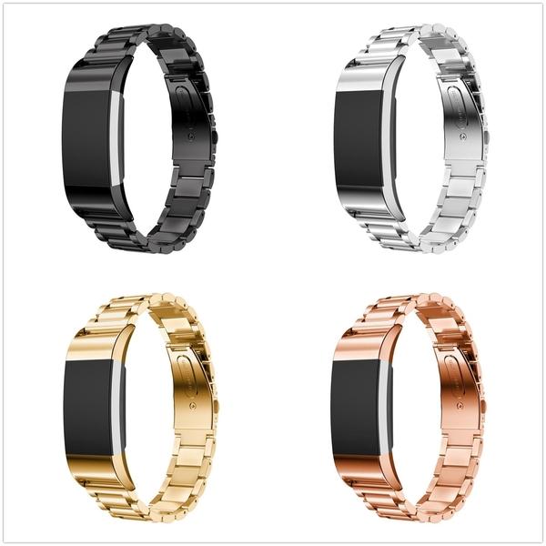 Fitbit charge 2 不銹鋼錶帶 charge2 心率智慧手環 三珠鋼帶 金屬錶帶 替換 錶帶 手錶帶