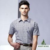 JOHN DUKE經典格紋短袖襯衫 - 咖啡/藍格