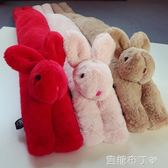 新款秋冬兒童寶寶圍巾4男童毛毛圍脖5女童保暖兔子圍巾3-12歲韓版 焦糖布丁 一米陽光