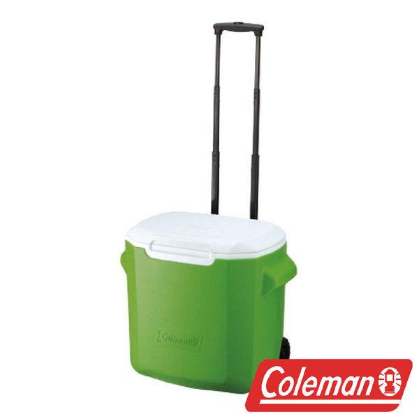 【美國Coleman】拖輪冰箱 26.5L-綠 CM-0491J 露營 冰桶 保冷 保溫 保冰