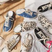 帆布鞋 休閒鞋 韓國東大門女鞋春新時尚豹紋帆布BF學生分趾平底休閒半拖鞋潮
