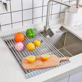 瀝水架 可折疊瀝水架水槽上方收納架碗碟架廚房洗碗池放碗架瀝水籃置物架jj