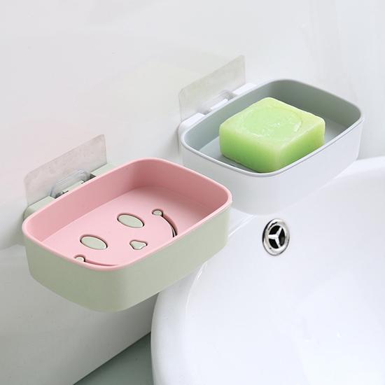 双色笑臉肥皂架 肥皂盒 香皂盒 瀝水架 菜瓜布架 無痕 免打孔 肥皂架(壁掛)【L199】生活家精品