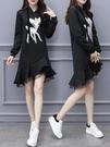 歐洲站魚尾洋裝女裝新款韓版過膝蕾絲中長款連帽衛衣潮 夏季新品