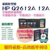 副廠 HP Q2612A 12A 1010 1020 1319 1022 3050 全新副廠碳粉匣