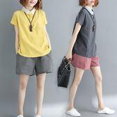 秋冬大尺碼女裝顯瘦排扣短袖上衣文藝棉麻褶皺撞色POLO領T恤衫