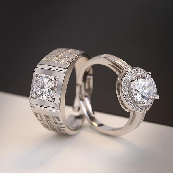 結婚用的假鉆戒一對仿真男女對戒情侶婚禮儀式交換道具求婚戒指 雙十二全館免運