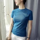 純棉T恤 短袖t恤女短款修身打底衫夏白色純棉小圓領上衣內搭抹茶綠新款潮-Ballet朵朵
