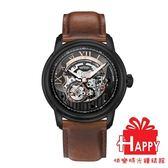 ARIES GOLD 雅力士 EL TORO 自動上鍊縷空機械錶-黑X咖啡色 G 9005 BK-BK