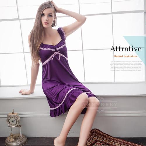 大尺碼睡衣~Annabery荷葉肩帶紫色浪漫柔緞面睡衣《Life Beauty》