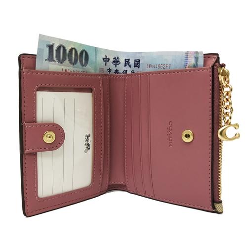 【COACH】C LOGO花卉印花證件鈔票零錢袋短夾(米白/花卉)