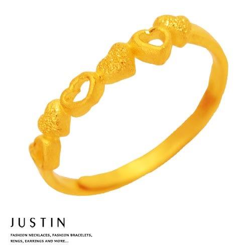 Justin金緻品 黃金女戒指 夢幻愛戀 金飾 黃金戒子 9999純金 愛心
