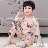 兒童綿綢睡衣套裝夏季男孩女童薄款長袖寶寶小孩子棉綢空調服套裝