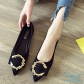 尖頭鞋 歐美風時尚2019秋冬季新款女鞋子大碼金屬扣淺口尖頭平跟平 十點一刻