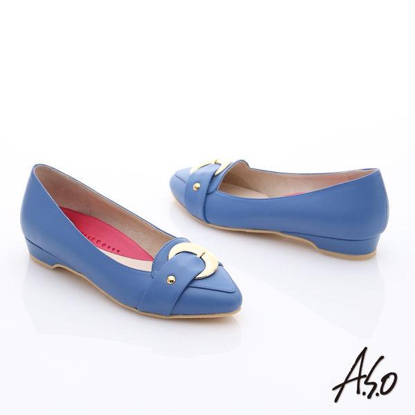 A.S.O 職場女力 柔軟真皮皮帶飾扣低跟鞋  藍