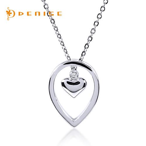 925純銀鍍白金墜~愛相隨「天然鑽石項鍊」主石0.01克拉/銀飾禮品/情人禮物