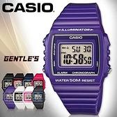 CASIO手錶專賣店 卡西歐 W-215H-6A 數字錶 紫色 中性錶 方形 防水50米 LED背光照明 膠質錶帶