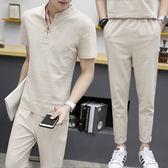 男運動套裝夏季短袖T恤韓版休閒2019新款潮流帥氣衣服兩件套 FR8225『俏美人大尺碼』