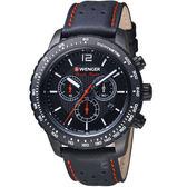 瑞士WENGER Roadster速度系列黑夜騎士三眼指針腕錶 01.0853.108