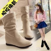 秋冬季雪地靴內增高女靴子女士坡跟平底短靴磨砂中筒靴加絨馬丁靴 東京衣秀