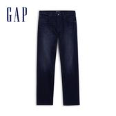 Gap男裝 柔軟彈力直筒型五口袋牛仔褲 603641-暗黑水洗色