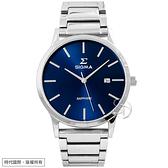 【台南 時代鐘錶 SIGMA】簡約時尚 藍寶石鏡面 日期顯示 鋼錶帶男錶 1737M-L3 藍/銀 42mm