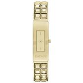 DKNY 前衛姿態錐形鉚釘時尚腕錶-金
