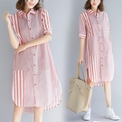 中大尺碼洋裝 洋氣大碼條紋連身裙女胖mm...