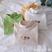 女童長袖 2021秋冬裝兒童雙面絨自發熱打底衫 女童寶寶高領長袖新款上衣 潮 歐歐
