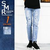 牛仔褲-個性淺破牛仔褲-破壞造型穿搭款《99985987》淺藍色【現貨+預購】『SMR』
