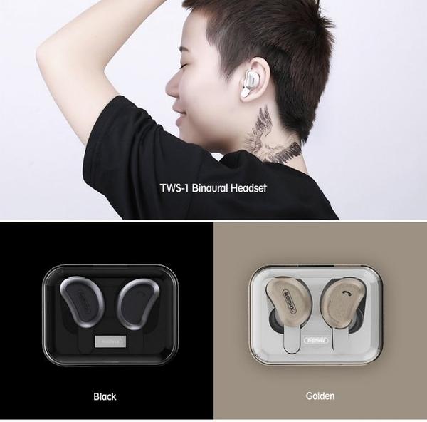 【Love Shop】REMAX TWS-1 無線雙耳藍牙運動耳機金色 黑色