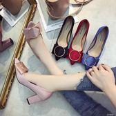 潮小清新高跟鞋女夏單鞋百搭尖頭粗跟婚鞋紅色新娘鞋『小宅妮時尚』