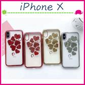 Apple iPhoneX 5.8吋 電鍍邊愛心手機殼 立體心心保護套 透明手機套 鏤空保護殼 軟殼 「愛樂芬Go」